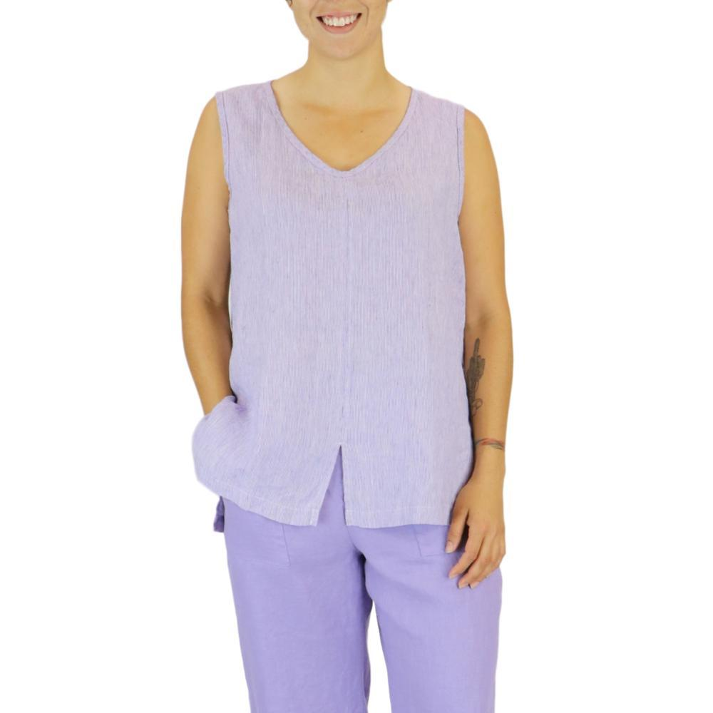 FLAX Women's Open Tank Top in Stria LILACSTRIA