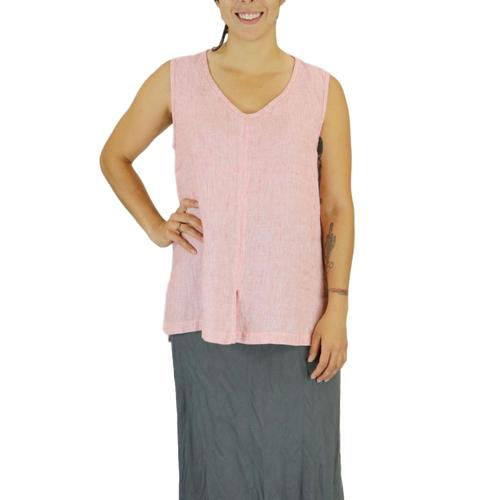 FLAX Women's Open Tank Top in Stria Poppystria