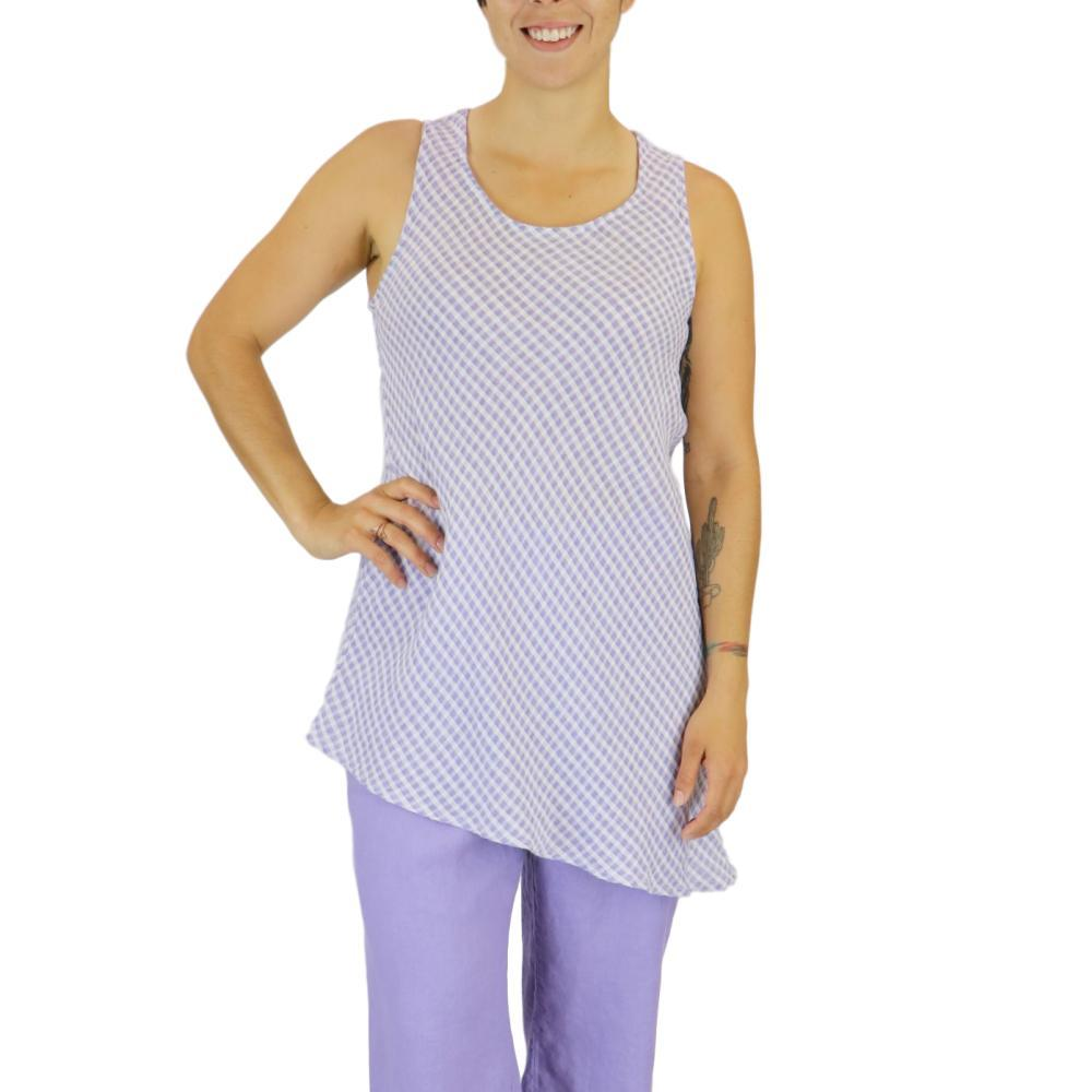 FLAX Women's Airy Tunic Top in Gingham LILACGINGHAM