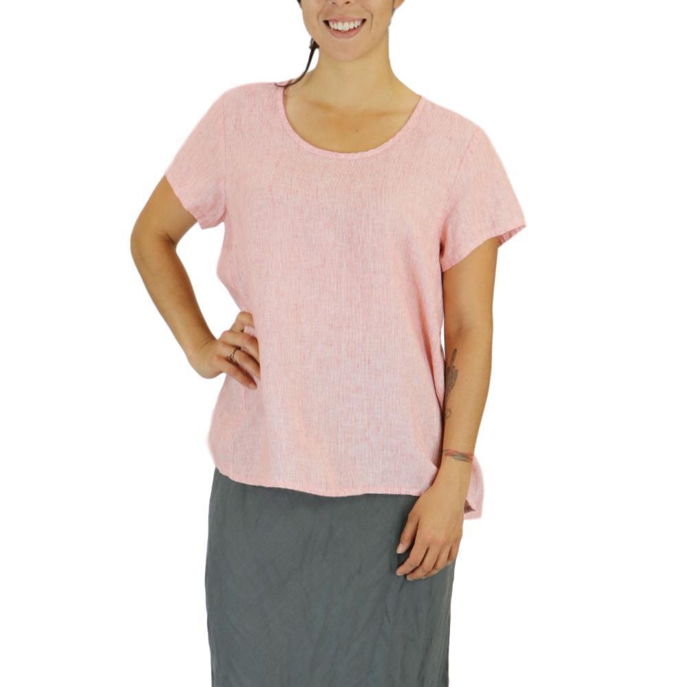 FLAX Women's Weightless Tee Top in Stria POPPYSTRIA