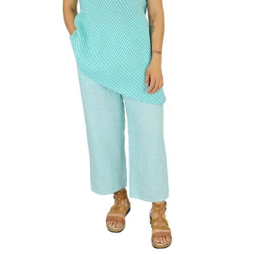 FLAX Women's Floods Pants in Stria Jadestria