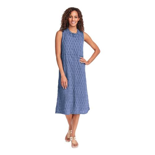 FLAX Women's Date Night Dress in Pucker Bluepucker