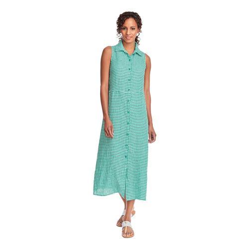 FLAX Women's Dresser Maxi Dress in Gingham Jadegingham