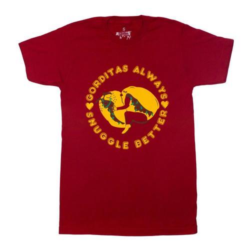 BarbacoApparel Men's Gorditas Always Snuggle Better Tee Cardinal