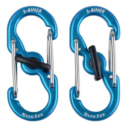 Nite Ize S-Biner TagLock Aluminum - 2-Pack - Blue Blue