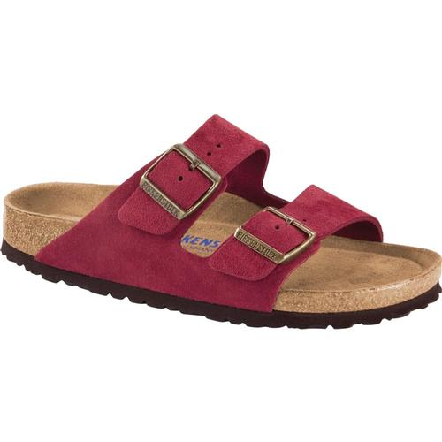 Birkenstock Women's Arizona Soft Footbed Suede Leather Sandals Port