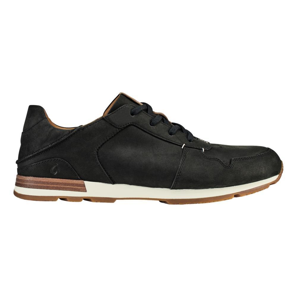 Olukai Men's Huaka'i Li  Waxed Nubuck Leather Sneakers BLK.BLK_4040