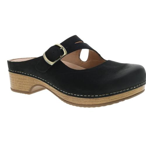 Dansko Women's Britney Black Burnished Nubuck Mary Jane Clogs Blkburn.Nb