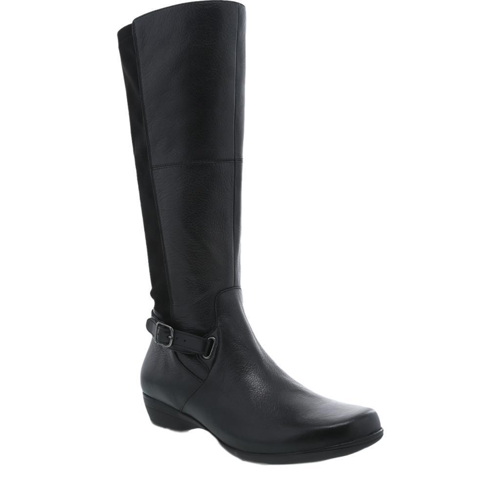 Dansko Women's Francesca Black Milled Nappa Boots BLACKML.NP