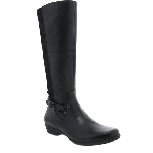 Dansko Women's Francesca Black Milled Nappa Boots Blackml.Np