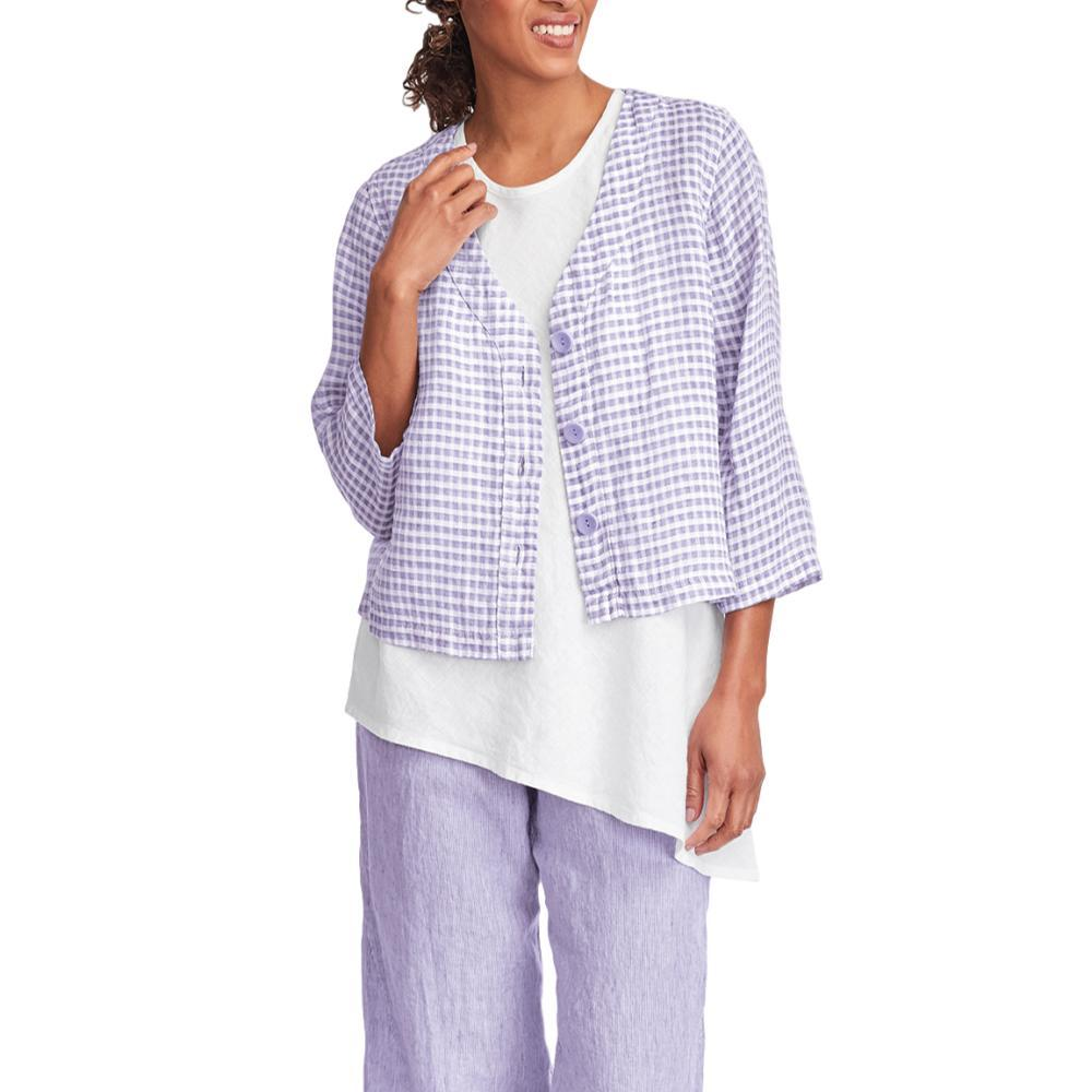 FLAX Women's Boxy Cardi Top LILACGINGHAM