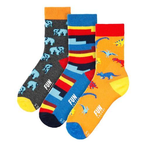 Fun Socks Kids Dinosaur Socks 3pk