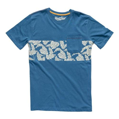Howler Brothers Men's Monstera Stripe Pocket T-Shirt Midblue