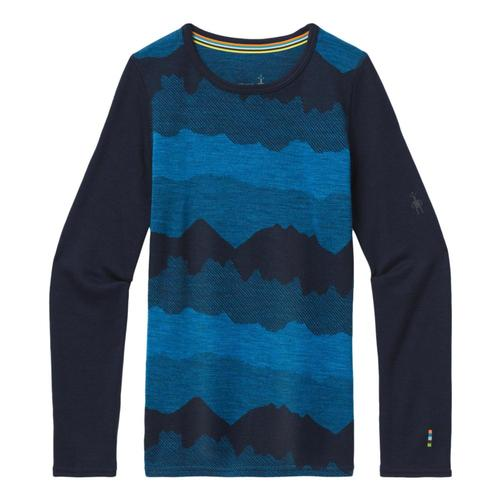 Smartwool Kids Merino 250 Base Layer Pattern Crew Shirt Navymt_e92