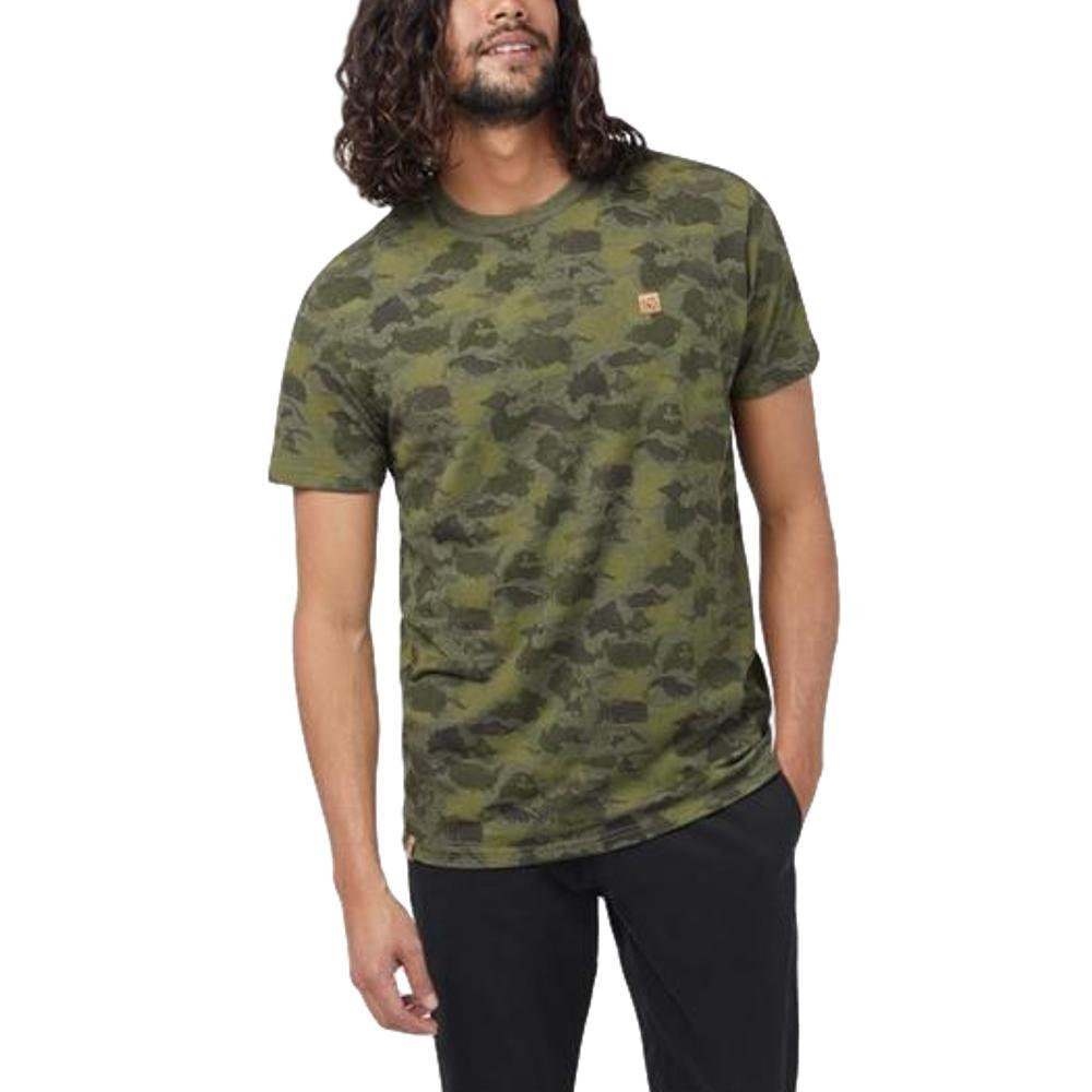 tentree Men's Camo Short Sleeve T Shirt OLIVENIGHT