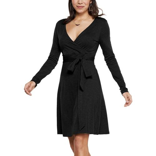 Toad&Co Women's Cue Wrap Long Sleeve Dress Black_100