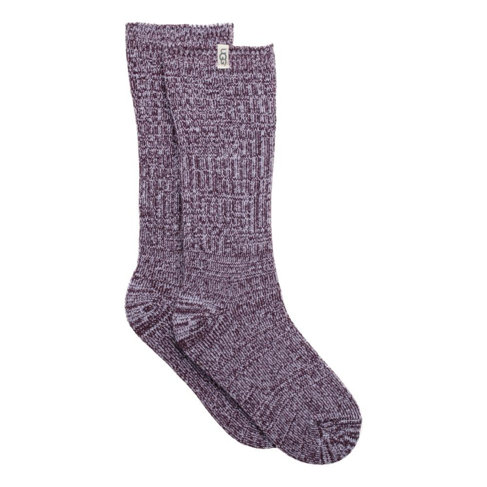 UGG Women's Rib Knit Slouchy Crew Socks PORT