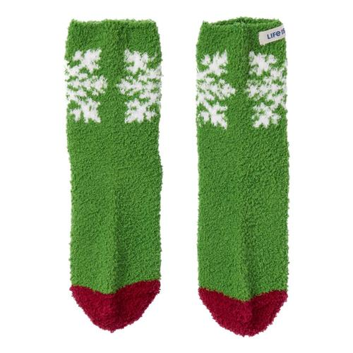 Life is Good Women's Snowflake Snuggle Crew Socks Freshpine