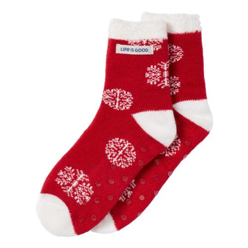 Life is Good Women's Snowflake Pattern Double Snuggle Socks Cranbryred