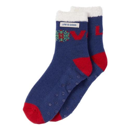 Life is Good Women's Love Snowflake Double Snuggle Socks Caroliblue