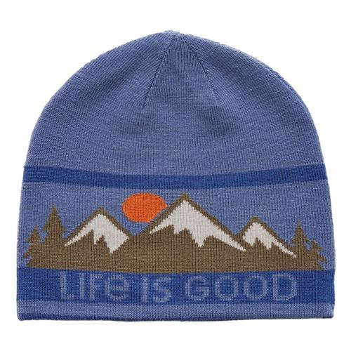Life is Good Mountain Scenic Reversible Beanie Vintagblue