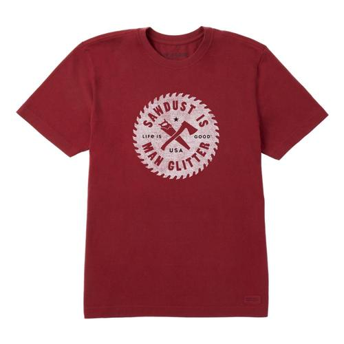 Life Is Good Men's Sawdust Is Man Glitter Crusher Tee Cranbryred