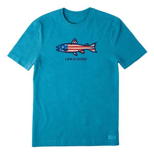 Life is Good Men's Flag Fish Crusher Tee Seaprtblue