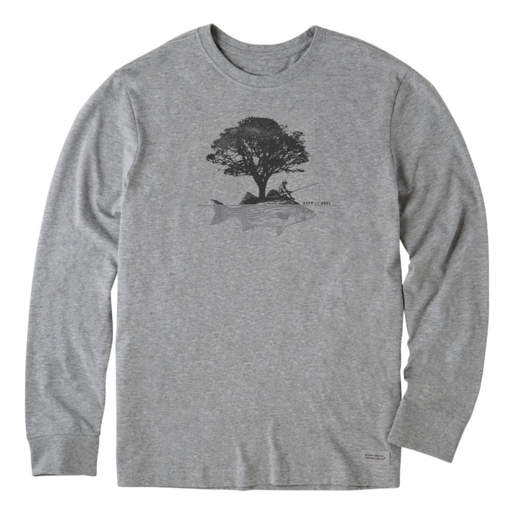 Life is Good Men's Tree Fish Long Sleeve Crusher Tee HEATHGRAY