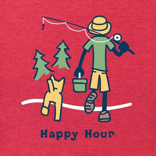 Life is Good Men's Happy Hour Fish Vintage Crusher Tee Americared