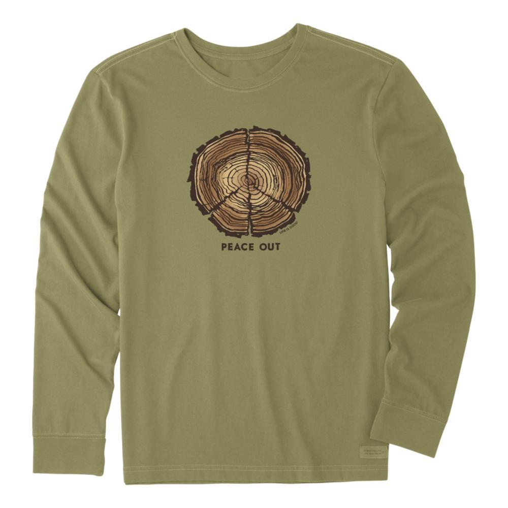 Life Is Good Men's Peace Out Long Sleeve Crusher Tee FATIGGREEN