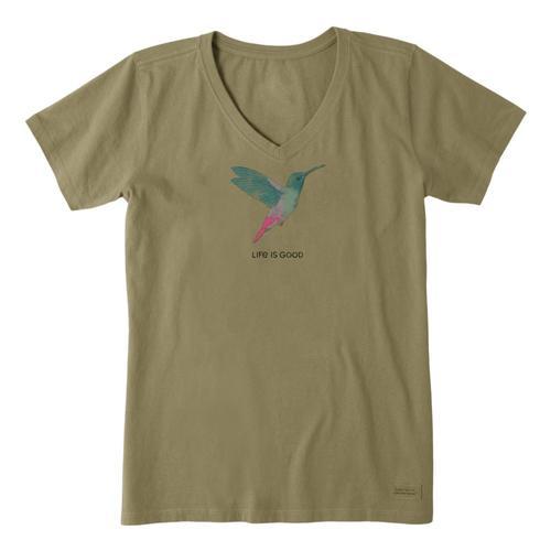 Life Is Good Women's Hummingbird Engraved Crusher Vee Fatiggreen
