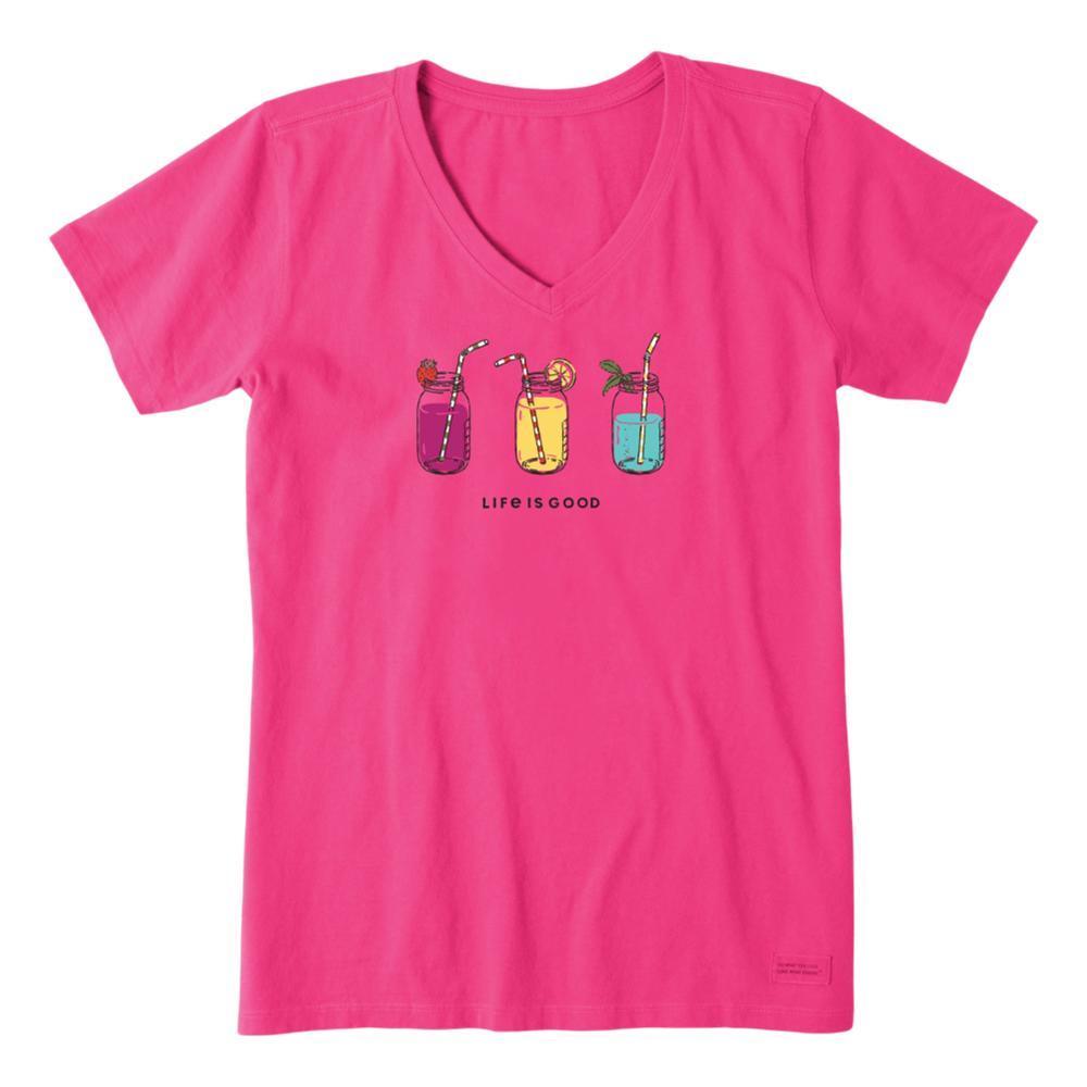 Life is Good Women's Refreshing Jars Crusher Vee FIESTAPINK