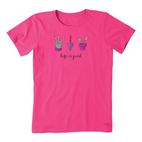 Life Is Good Women's Peace Love Garden Crusher Tee Fiestapink