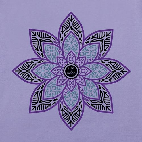 Life Is Good Women's Primal Lotus Long Sleeve Crusher Tee Moonpurple