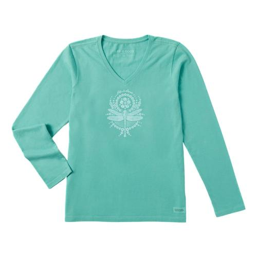 Life is Good Women's Primal Dragonfly Crusher Vee Shirt Aquablue