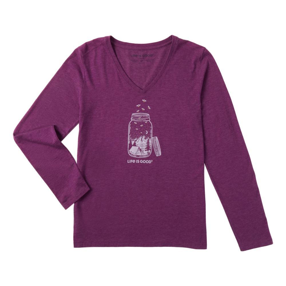 Life is Good Women's Camp Jar Long Sleeve Cool Vee HAPPYPLUM