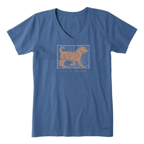 Life is Good Women's Life Is Golden Crusher Vee Vintageblue