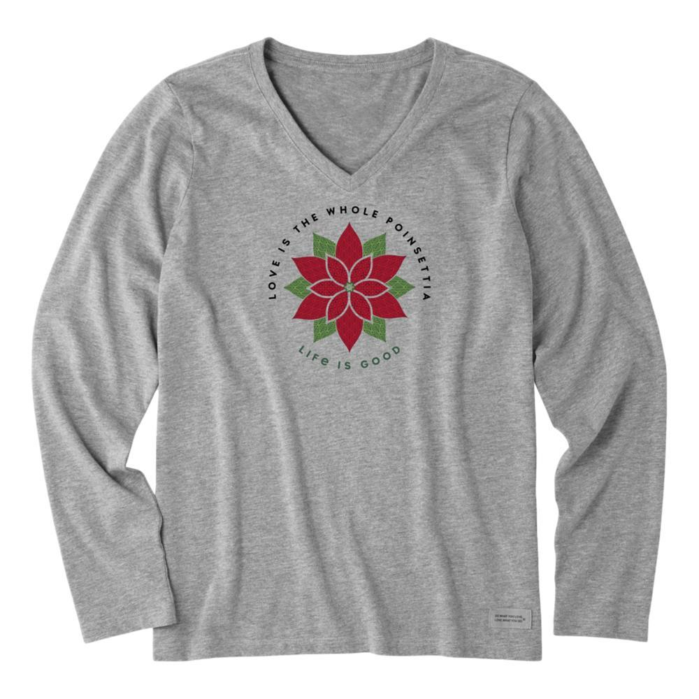 Life is Good Women's Poinsettia Watercolor Crusher Long Sleeve Vee HEATHGRAY