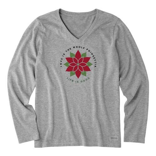 Life is Good Women's Poinsettia Watercolor Crusher Long Sleeve Vee Heathgray