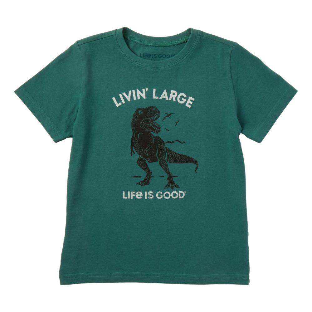 Life is Good Boys Livin' Large T-Rex Crusher Tee SPRUCGRN