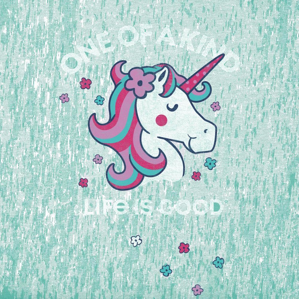 Life is Good Girls One of a Kind Unicorn Crusher Tee AQUABLUE
