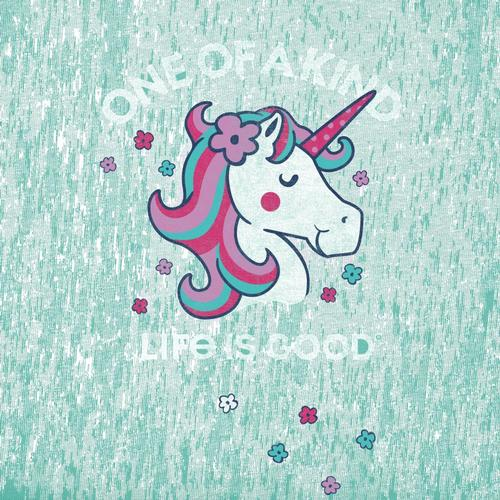 Life is Good Girls One of a Kind Unicorn Crusher Tee Aquablue