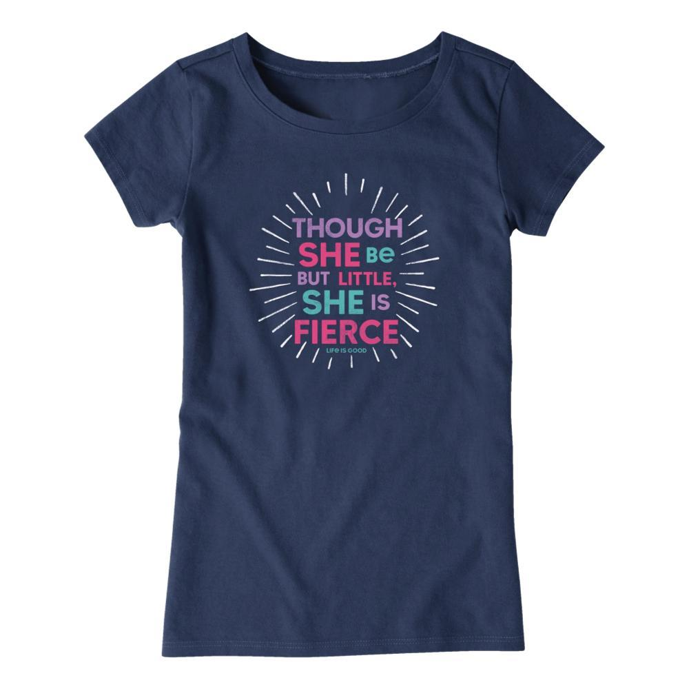 Life is Good Girls Little & Fierce Crusher Tee DRKBLUE