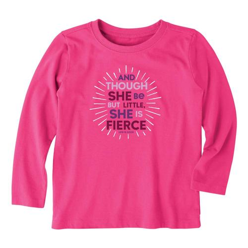 Life is Good Toddler Little & Fierce Long Sleeve Crusher Tee Fiestapnk