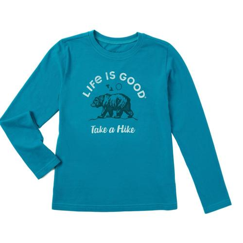 Life is Good Boys Take A Hike Bear Long Sleeve Crusher Tee Seablue