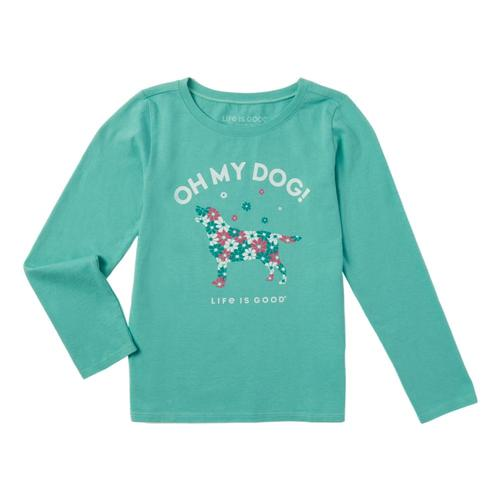Life is Good Girls Oh My Dog! Long Sleeve Crusher Tee Aquablue