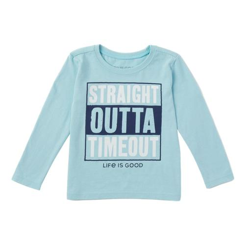 Life is Good Toddler Straight Outta Timeout Long Sleeve Crusher Tee Beachblue