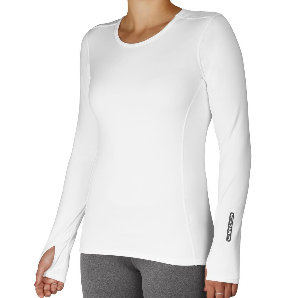 Hot Chillys Women's Micro-Elite Chamois Crewneck WHITE_823