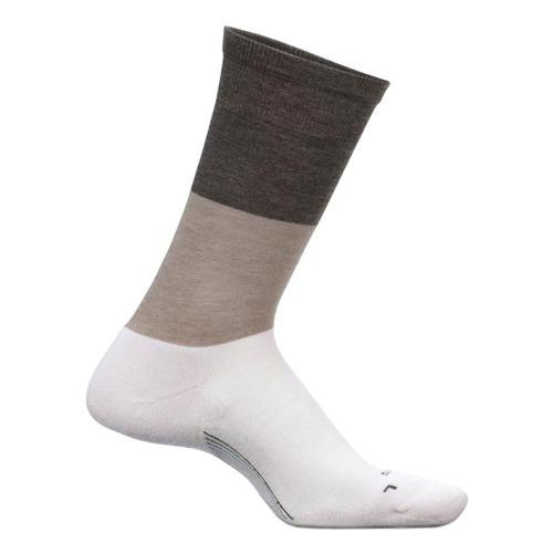 Feetures Women's Everyday Mod Block Cushion Crew Socks Oatmeal