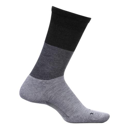 Feetures Women's Everyday Mod Block Cushion Crew Socks Gray